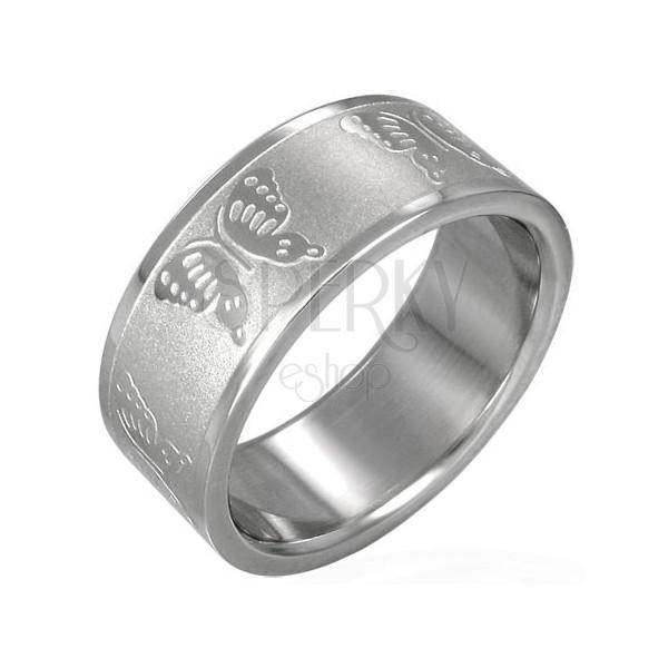 Oceľový prsteň s motýlikmi