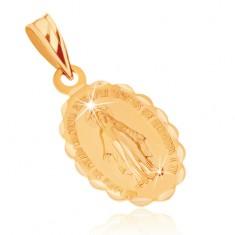 Prívesok zo žltého 9K zlata - obojstranný medailónik s Pannou Máriou