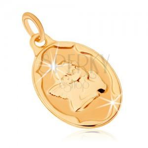 Zlatý prívesok 375 - oválna známka, anjelik podopierajúci si hlavu