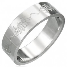 Šperky eshop - Prsteň z chirurgickej ocele s ornamentmi D1.19 - Veľkosť: 56 mm