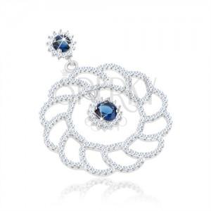 Strieborný 925 prívesok, veľký ligotavý obrys kvetu, okrúhle modré zirkóny