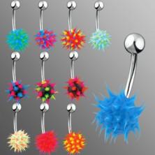 Piercing do brucha so silikónovým farebným ježkom