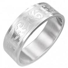Šperky eshop - Oceľový prsteň TRIBAL SYMBOL D5.17 - Veľkosť: 61 mm