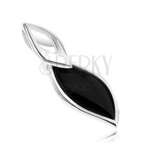 Prívesok - striebro 925, lístok s čiernou výplňou, jemný obrys