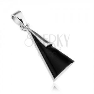 Prívesok - striebro 925, trojuholník s imitáciou čierneho onyxu