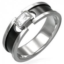 Oceľový prsteň so zirkónom - čierny pruh a lesklé okraje