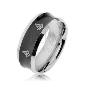 Oceľový prsteň v čiernej a striebornej farbe s vyhĺbeným stredom, symboly