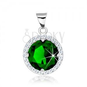 Strieborný prívesok 925, okrúhly smaragdovo zelený zirkón, číry zirkónový lem