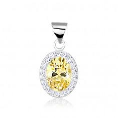 Šperky eshop - Strieborný 925 prívesok, zirkónový ovál jantárovej farby, línia z čírych zirkónikov SP66.26
