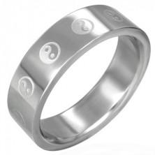 Oceľový prsteň Ying - Yang
