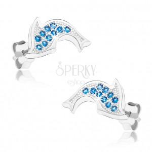 Ródiované náušnice zo striebra 925, ligotavý delfín, modré zirkóniky