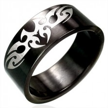 Čierny oceľový prsteň TRIBAL symbol