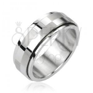 Oceľový prsteň striebornej farby, otáčací stredový pás s motívom šachovnice