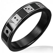 Čierny oceľový prsteň  hracie kocky