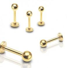 Piercing do pery, brady a nad peru z ocele 316L, zlatá farba, lesklá gulička