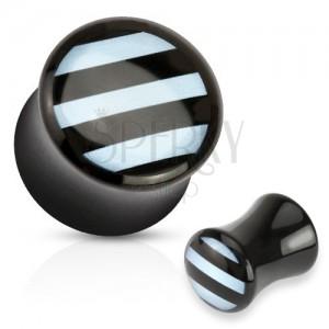 Sedlový plug z akrylu čiernej farby, lesklý povrch, biele prúžky na prednej strane