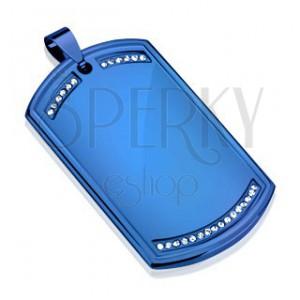Prívesok z ocele 316L, dog tag modrej farby, číre zirkónové línie