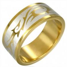 Šperky eshop - Prsteň zlatej farby TRIBAL SYMBOL D4.18 - Veľkosť: 56 mm
