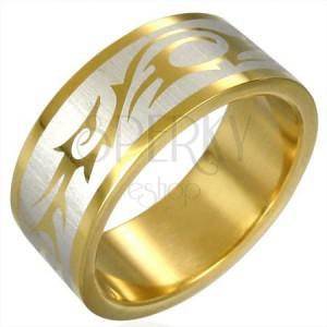 Prsteň zlatej farby TRIBAL SYMBOL