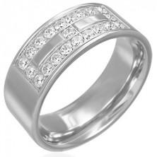 Oceľový prsteň s motívom zo zirkónov