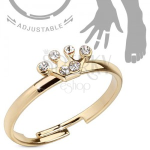 Lesklý prsteň v zlatej farbe na ruku alebo nohu, korunka so zirkónmi