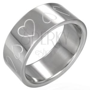 Oceľový prsteň srdiečka