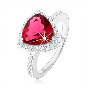 Strieborný prsteň 925, trojuholník, ružový zirkón, ligotavý lem, výrezy