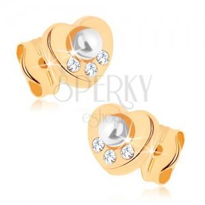 Náušnice v žltom 9K zlate - srdiečko, biela perla, zirkóniky čírej farby