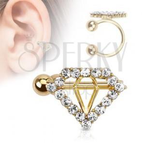 Fake piercing do ucha, zlatá farba, guličky, obrys diamantu s čírymi zirkónmi