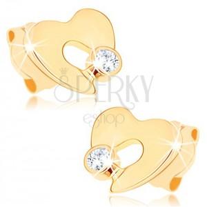 Zlaté náušnice 375 - ploché neúplné srdiečko s výrezom, číry zirkónik