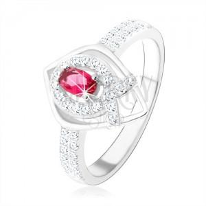 """Strieborný prsteň 925, obrys špicatej slzy, ružový zirkón, línia v tvare """"V"""""""