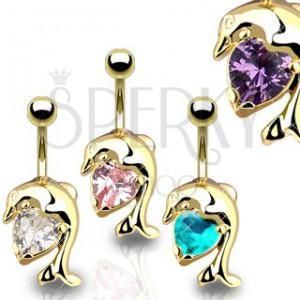 Piercing do brucha, zlatá farba, lesklý skákajúci delfín, zirkónové srdiečko