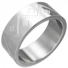 Prsteň z chirurgickej ocele geometrický vzor