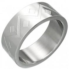 Šperky eshop - Prsteň z chirurgickej ocele geometrický vzor D3.18 - Veľkosť: 54 mm