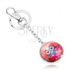 Prívesok na kľúče cabochon, kruh, roztomilá sovička medzi červenými kvetmi