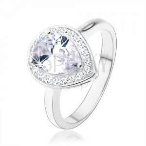 Strieborný 925 prsteň, číra kvapka - zirkón, trblietavý lem, výrezy