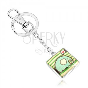 Kľúčenka, štvorec s vypuklou glazúrou, sloník so špirálami, srdce, zelené pásiky