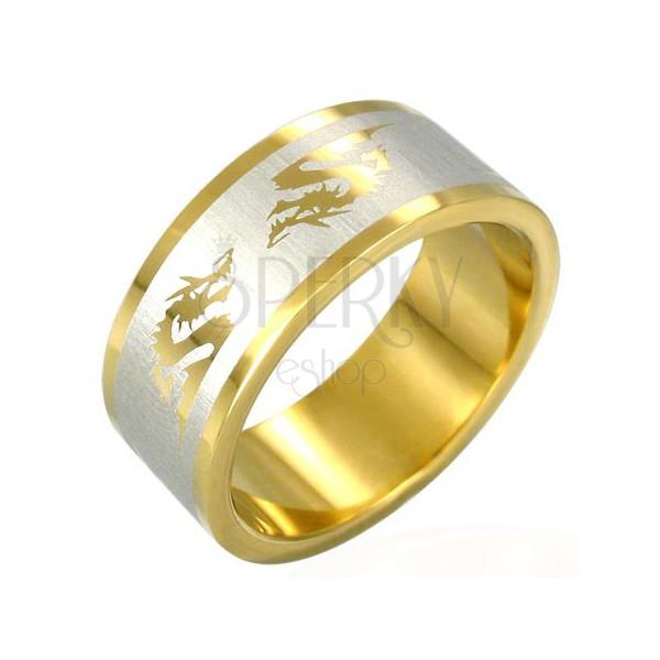 Oceľový prsteň v zlatej farbe čínsky drak