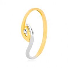 Zlatý prsteň 375 - nepravidelne zahnuté konce ramien, ligotavý zirkón