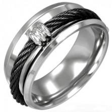 Prsteň z ocele čierna reťaz