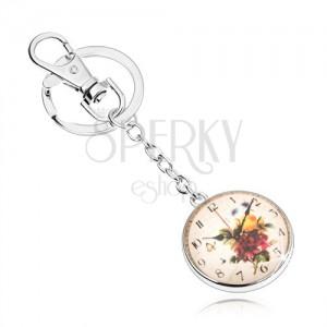 Kľúčenka v štýle cabochon, číre vypuklé sklo, motív hodín s kvetmi