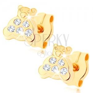 Náušnice zo žltého 9K zlata - medvedík s trblietavým bruškom