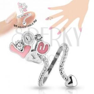 """Nastaviteľný prsteň na necht, ružovo-biely nápis """"Love"""", číre zirkóny"""
