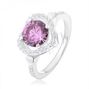 Strieborný 925 prsteň, okrúhly zirkón tanzanitovej farby v kontúre srdca