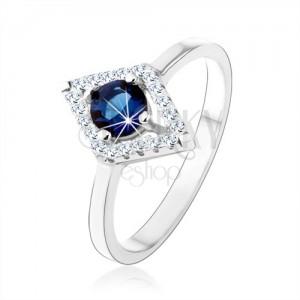 Prsteň zo striebra 925, obrys kosoštvorca, modrý okrúhly zirkón
