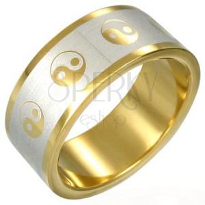 Prsteň Yin-Yang zlatej farby