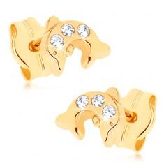 Šperky eshop - Zlaté náušnice 375 - lesklý skáčuci delfín, tri okrúhle číre zirkóniky GG73.03