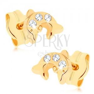 Zlaté náušnice 375 - lesklý skáčuci delfín, tri okrúhle číre zirkóniky