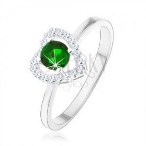 Prsteň zo striebra 925, ligotavá kontúra srdca, zelený okrúhly zirkón