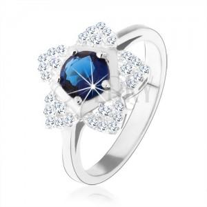 Zásnubný prsteň, striebro 925, ligotavý kvietok, okrúhly modrý zirkón